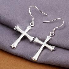 XMAS Sterling solid Silver Fashion Jewelry Elegant cross Earring E580