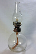 Antique Miniature Oil Lamp With Original Swirl Glass Chimney
