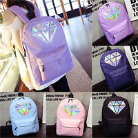Womens Ladies Girls Diamond Printed Backpack Canvas Travel School Bags Bookbags