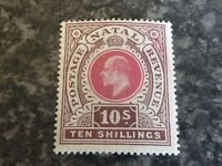 NATAL SOUTH AFRICA POSTAGE REVENUE STAMP SG141 TEN SHILLING LIGHTLY-MOUNTED MINT