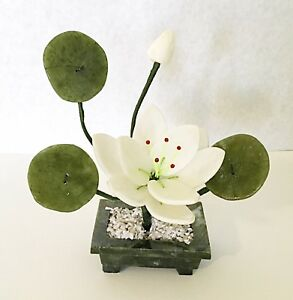 Handcrafted Jade and Glass White Lotus Flower Basket Artificial Bonsai Plant