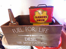 Old Wood Crate - Fuel For Life - Diesel Gas - Use With Caution w/ Handles