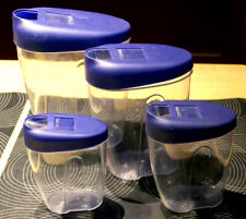 * 4er Set Vorratsgefäße Kunststoff Gefäß Deckel blau Schütten Mehl, Zucker, Salz