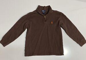 Polo Ralph Lauren Boys Youth  1/4 Zip Medium 12-14 Brown Pullover Sweater