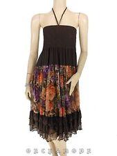 Robe Dos Nu / Jupe SPRING T. UNIQUE = 36 38 40 42 voile marron floral NEUF Dress