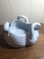 Vintage JAPAN 3-Swan Ceramic Planter BLUE ** NICE**