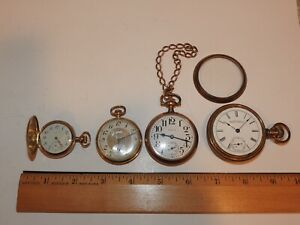 4 Vintage Pocket Watches W/Gold Filled Cases 3-Elgin 1-Waltham Jeweler's Specl