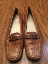 Talbots Womens Faux Leather Tan Snake Skin Loafers, Square Toe Slip On Sz 6.5