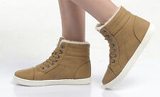 New Thick Fur Lined Ankle Trainers Hitop Flat Lace Sneakers Fashion Girls Style
