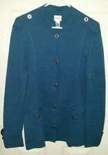 chicos womens size 2 sweater jacket. long sleeve. color blue