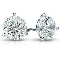 4 Ct Round Earrings Studs Martini Real 14K White Gold Brilliant Cut Screw Back