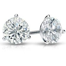4 Ct Round Earrings Studs Martini Real 18K White Gold Brilliant Cut Screw Back