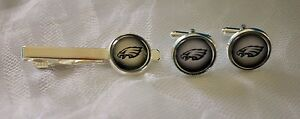 Philadelphia Eagles Cufflinks & Tie Clip made from Football Cards, Gift for Men