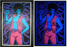 Vintage BLACK MAGIC blacklight poster male panther Afro neon MINT 23x35 NOS