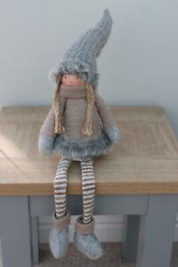 Cute Shelf Sitting Girl  Brown Grey Fur Trim