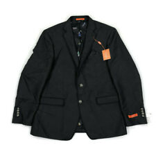 Tallia Mens Jacker Blazer 2 Button Black Gray Print Sz 44R