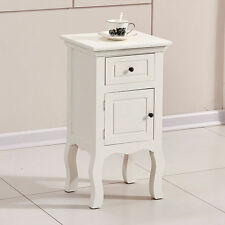 White Chic Wooden Bedside Table w/ Drawer Door Storage Cabinet Unit Nightstand