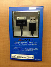 New Auvio 30-pin USB Sync/Charge Cable For iPod iPhone 4 and iPad - 3.8 Feet