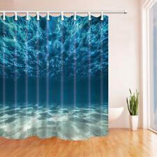 Ocean Theme Bath Shower Curtain Sand Beach Under Sea Waterproof Fabric Hooks