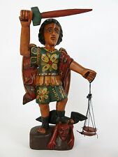 "Carved Wood St. Saint Michael Over the Devil Guatemalan Santo Statue 10.5"" (#3)"