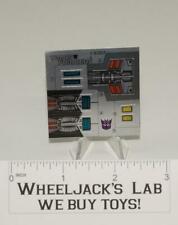 Horri-Bull Decal Sticker Sheet G1 Transformers 1988 Vintage Action Figure