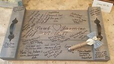 Wedding SIGNATURE GUEST BOOK Alternative Pallet Wood Rustic Serving Tray w/ Pen