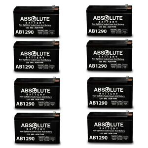 NEW 8 PACK AB1290 12V 9AH SLA Battery Replacement for Power Battery PM12-7