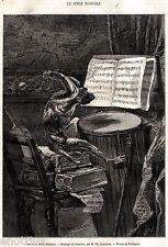 Musica da Camera:La Scimmia Musicista.Caricatura.Stampa Antica.Passepartout.1861