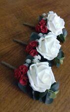 Wedding 6 x ivory rose buttonholes gypsophilia red rose bud, rope bound stem