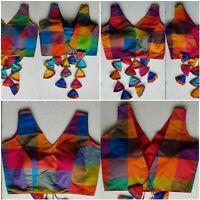 Ready made Saree Blouse, Silk Designer Checks sari belly Blouse Elbow Sleeve Top