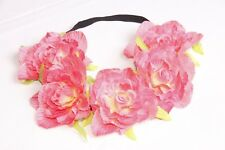 Bright Highlighter Pink Large Floral Flower Crown Hippie Festival Headband s202