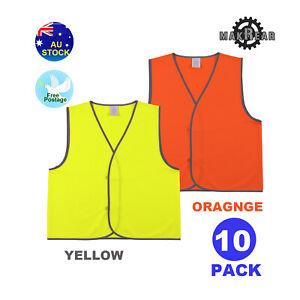 10x  Hi vis Safety Work wear Vest Yellow Aus Standard Orange High Visibility