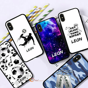 Personalised Name Phone Case Black Boys Cover For iPhone 12 11 8 7 MAX XR X XS 6