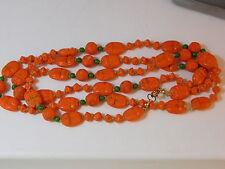 "Vintage Max Neiger Czech Orange Glass Bead 40"" Necklace Egyptian Scarab 10g 38"