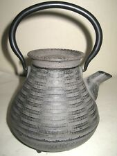Asian Japanes Tetsubin Cast Iron Footed Tea Pot Rastic Brown With Insert .