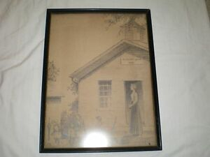 Antique PLEASANT GROVE 1896 Mother Teacher & Children American Folk Art Painting