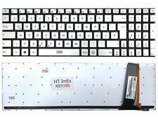 DE - Silber Tastatur Keyboard mit Beleuchtung, ohne Rahmen für ASUS N76VM