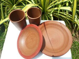 Terra Cotta KID Plate & Glass Hand Made Clay Pottery Eco Natural Handicraft