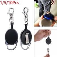1/5/10Pcs Black Retractable Key, Reel Recoil Cord Key Ring Pull Chain Belt Clip