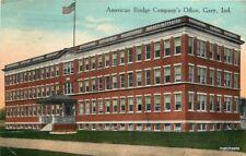 American Bridge Company's Office Gary Indiana C-1915 Flag postcard 9829