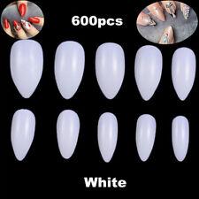 600pc Oval Stiletto Pointy Full False Nail Tips Almond Shape Acrylic Gel Claw