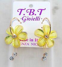 TOP FASHION Orecchini con cristalli da Donna,cerchio oro Fiori giallo