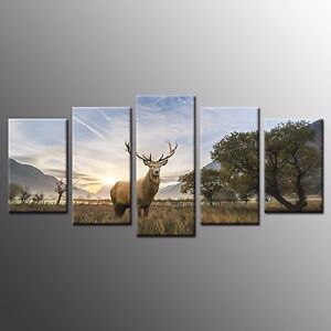 FRAMED Museum Quality Canvas Painting Print Deer on Grassland Wall Art Decor-5pc