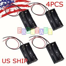 4 Pcs Black Plastic Battery Holder Box Storage Case with Wire for 2 x 1.5V AA