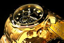 NEWInvicta Pro Diver Scuba 18 K Gold Plated Chrono Black Dial S.S Bracelet Watch