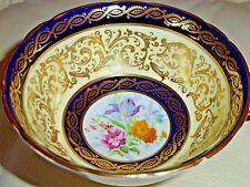VINTAGE PARAGON RICH GOLD FLORAL DECORATION COBALT BLUE AND CREAM CUP