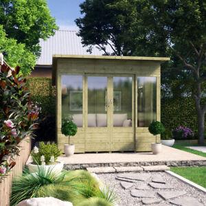 8 x 8 Pressure Treated Verano Wooden Garden Summerhouse with T&G Sunroom