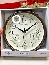 """⭐️9"""" Indoor/Outdoor Wall Clock with Temperature & Humidity new⭐️"""