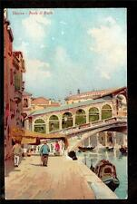Tuck art people walking Ponte di Rialto Venice Italy postcard series 1014