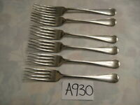 VINTAGE OLD ENGLISH NICKEL SILVER PLATED DESSERT FORKS CUTLERY SET OF 6 in exc c